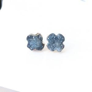 Gold-plated genuine agate druzy stud earrings